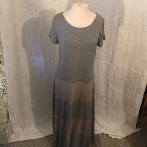 GAP heather grey/mauve stripe maxi dress